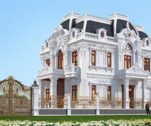 Biệt thự lâu đài 2 tầng với nhiều hoa văn cổ điển SV 17045