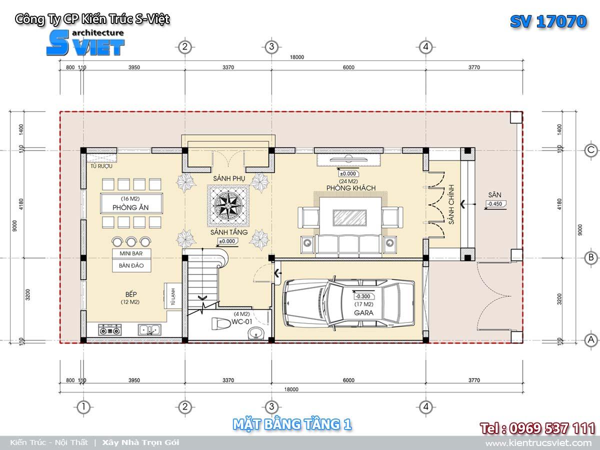 Mặt bằng biệt thự tầng 1 17070
